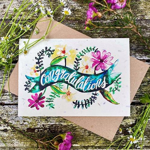 'Congratulations' plantable card - Loop Loop