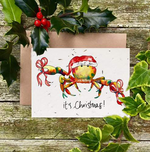 'Don't Be Crabby, It's Christmas!' plantable card - Loop Loop