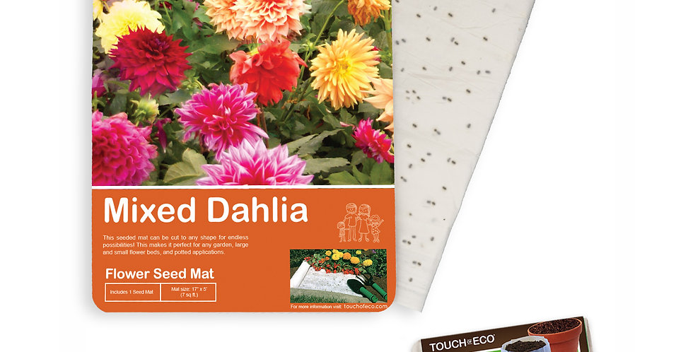 MIXED DAHLIA FLOWER SEED MAT WITH SOIL BLOCK