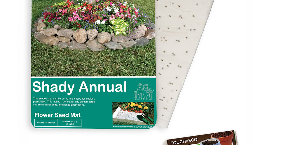 SHADY ANNUAL TREE RING FLOWER SEED MAT WITH SOIL BLOCK