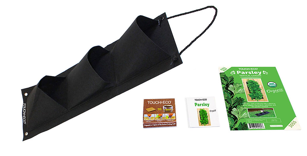 ORGANIC PARSLEY HANGING SEED BAG WITH SOIL BLOCK