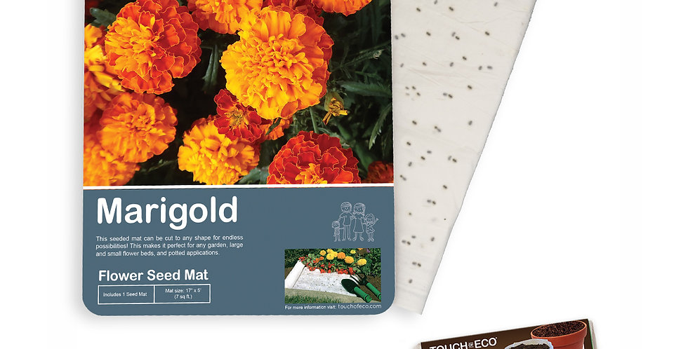 MERRY MARIGOLDS FRENCH FLOWER SEED MAT WITH SOIL BLOCK