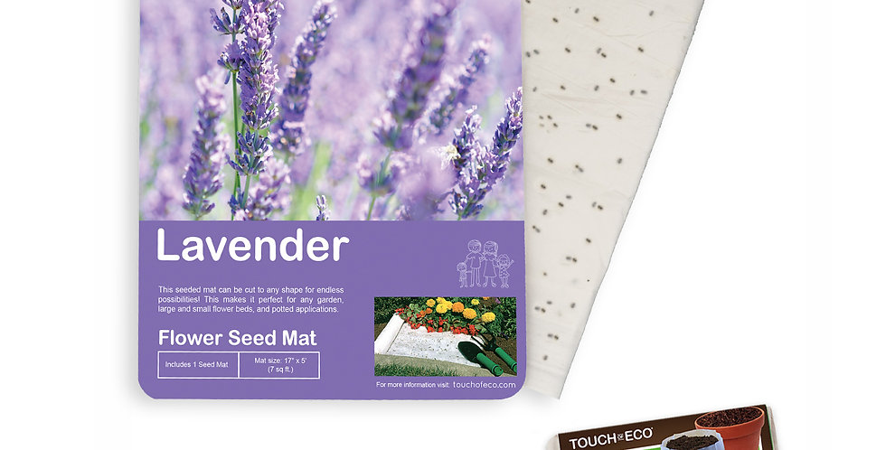 LAVENDER FLOWER SEED MAT WITH SOIL BLOCK