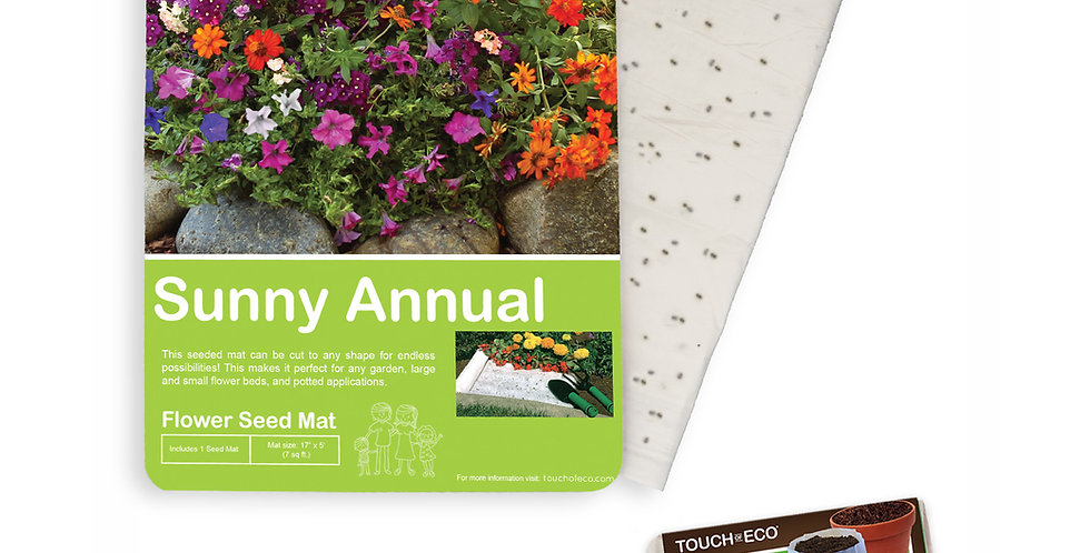 SUNNY ANNUAL FLOWER SEED MAT WITH SOIL BLOCK