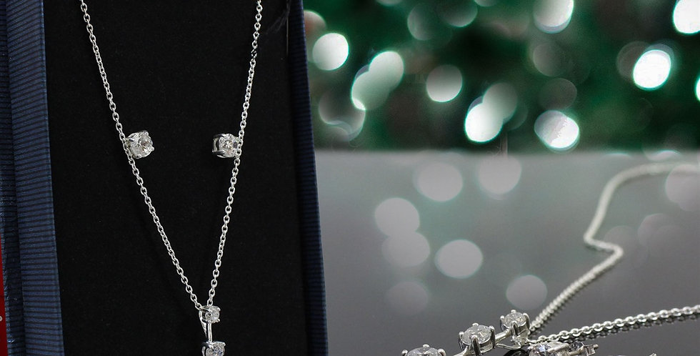 CUBIC ZIRCONIA NECKLACE & EARRING GIFT SET