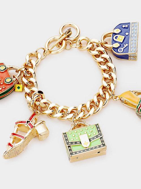 Heels and Bags Charm Bracelet