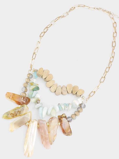 Boho Mixed Stone and Wood Necklace