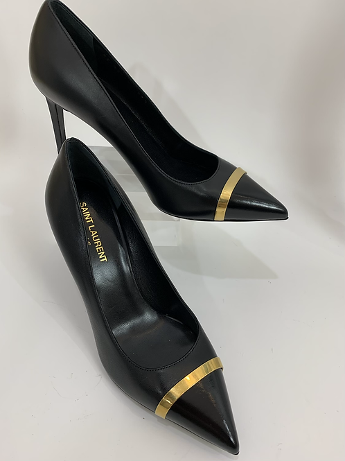 Yves Saint Laurent Paris Black Leather Gold Toe Cap Pump