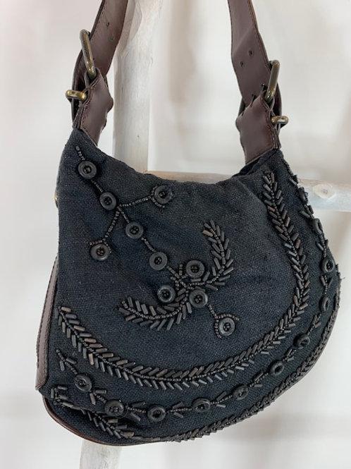 Authentic Fendi Linen Hopsack Oyster Saddle Bag