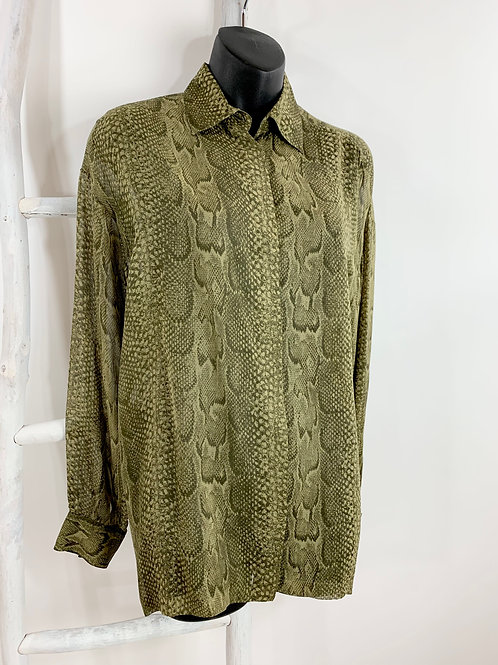 Versace Reptile Print Silk Blouse