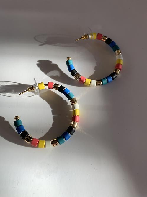 Bright Colorful Bead Hoop Earring