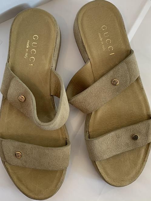 Vintage Gucci Suede Flat Sandal
