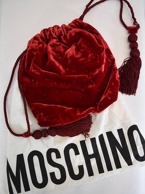 Moschino Velvet Drawstring Evening  Bag