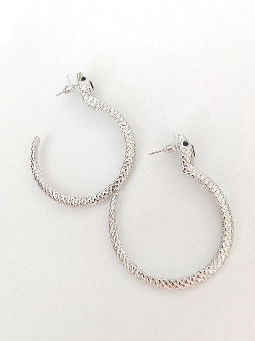 Silvertone Serpent Hoop Earring
