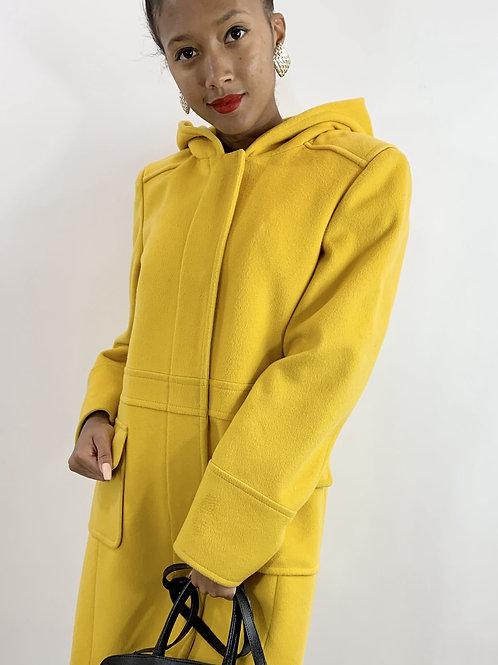 Michael Michael Kors Yellow Wool Melton Coat