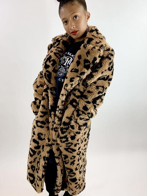 Avec Les Filles Leopard Print Teddy Coat