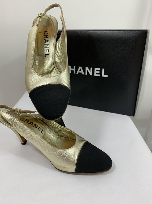 Chanel Metallic Gold Leather Sling Back Shoe