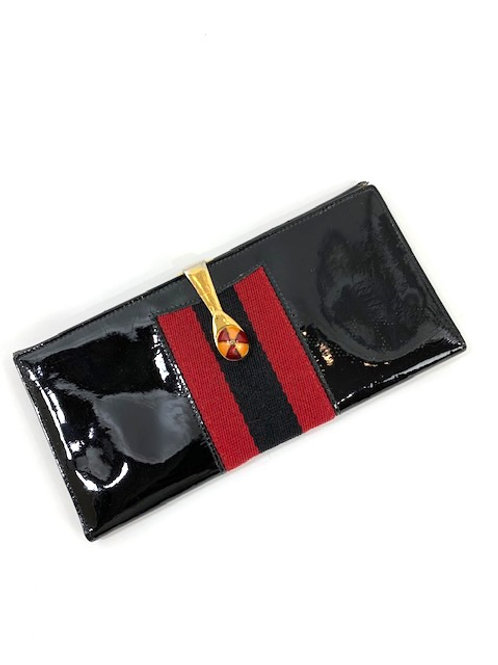 Gucci Patent Leather Equestrian Jockey Clasp Wallet