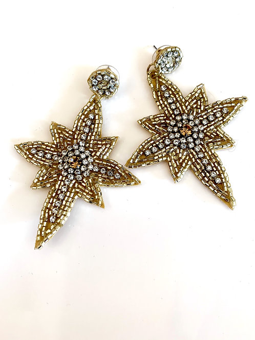 Gold and Silver Bead Star Earring