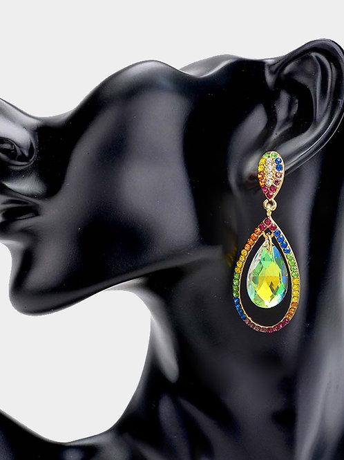 Rainbow Teardrop Earring