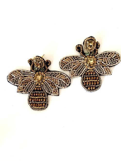 Art Deco Bumble Bee Beaded Earring