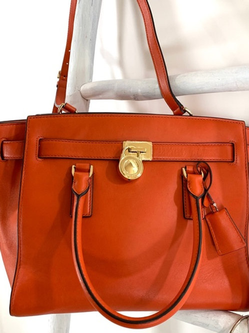 Michael Kors Orange Leather Satchel Bag