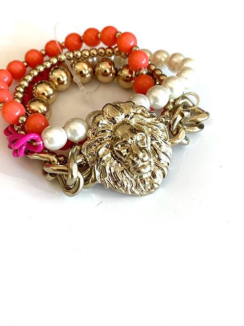 Colorful Layered Lion Chain Bracelet