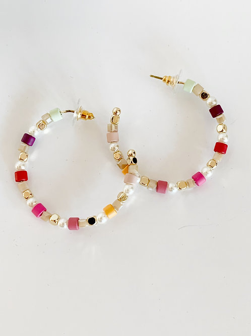Colorful Bead Hoop Earring