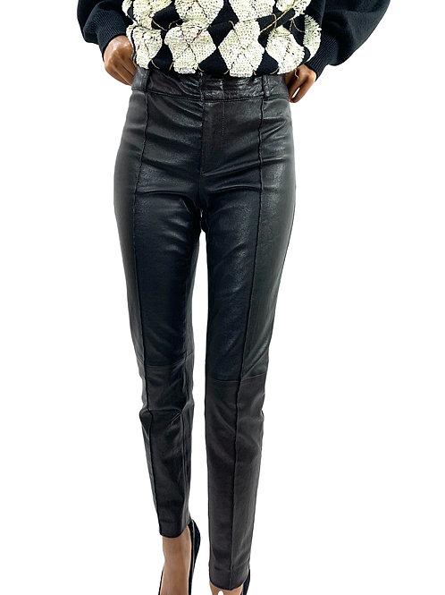 Gucci Black Leather Pin tuck Slim Cut Pant