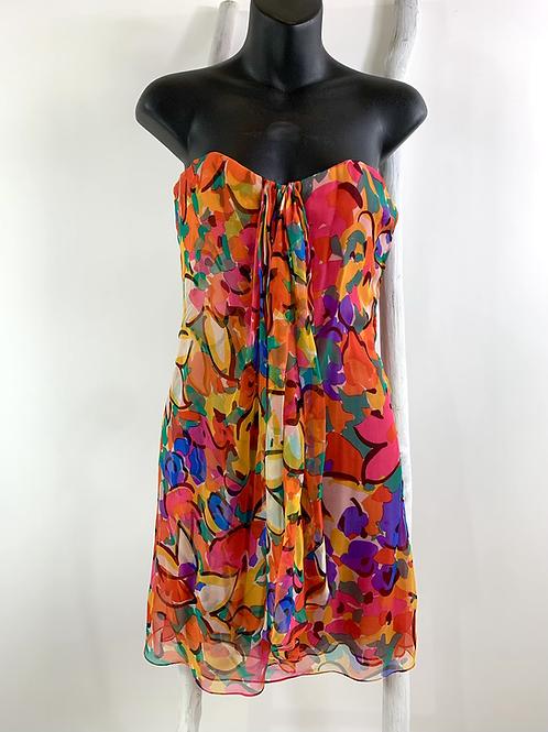 Vintage Oscar de la Renta Silk Print Bustier Dress