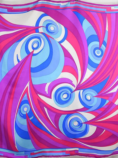 """Emilio Pucci 27"""" x 27"""" Psychedelic Swirl Silk Scarf"""