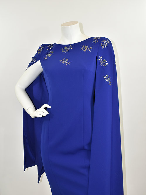 St. John Indigo Stretch Cady Embellished Cape Dress