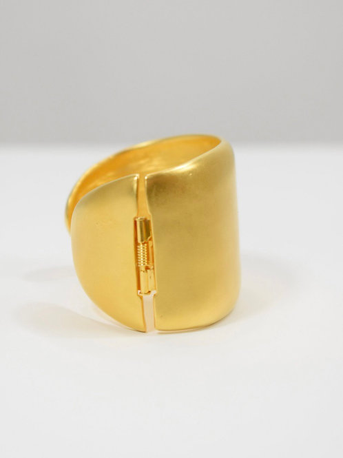 1980s Kenneth Lane Matte Goldtone Hinged Cuff Bracelet