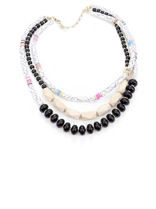 Bright Colorful  Disc and Wood Bead Layer Necklace