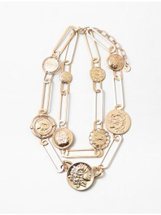 Worn Gold Coin Paper Clip Layered Necklace