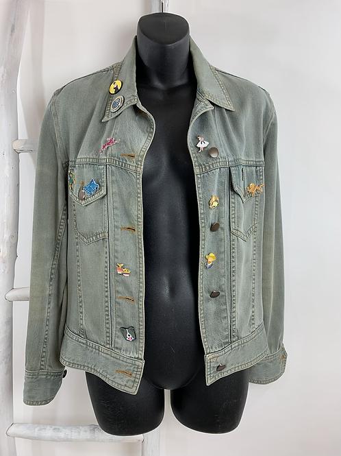 Unique Pin Embellished Denim Jacket