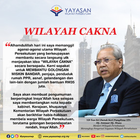 24.3.2020 WILAYAH CAKNA peruntukkan bantuan RM35juta untuk membantu golongan miskin bandar