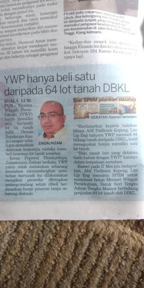 KOSMO - 11/9/2018 - YWP hanya beli satu daripada 64 lot tanah DBKL