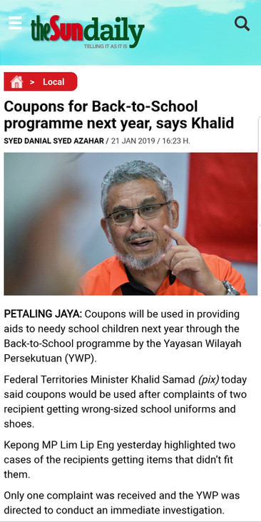 """Coupons for """"Back to School"""" programme for next year - says Khalid"""
