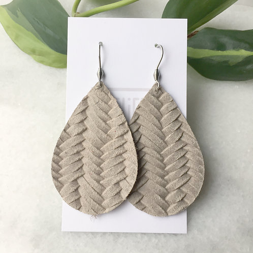 Taupe Leather Petal Earrings