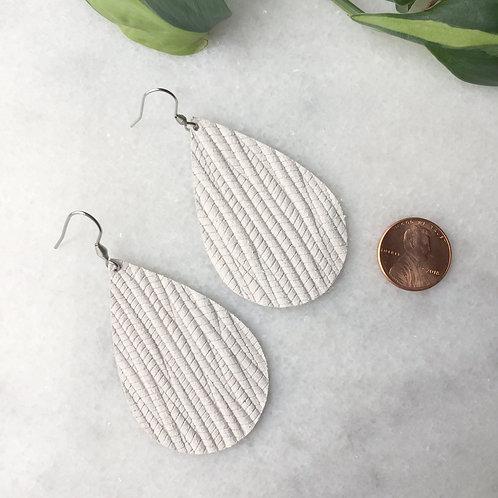 White Leather Petal Earrings