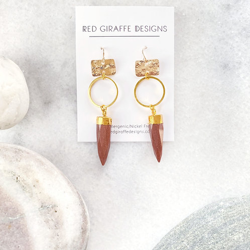 Textured Geometric Shapes with Sparkly Gem Earrings