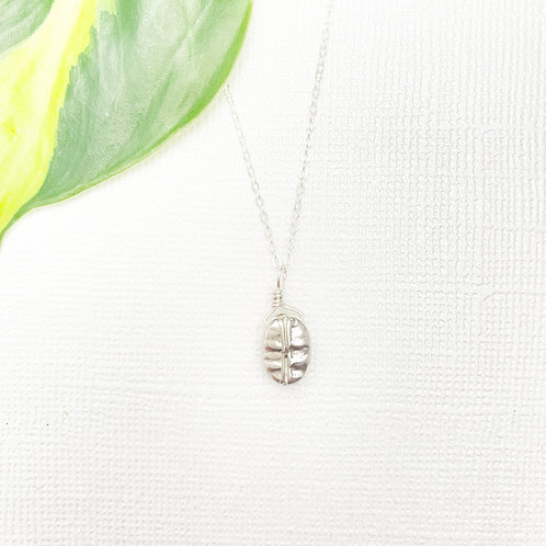 Sterling Silver Coffee Bean Charm Necklace