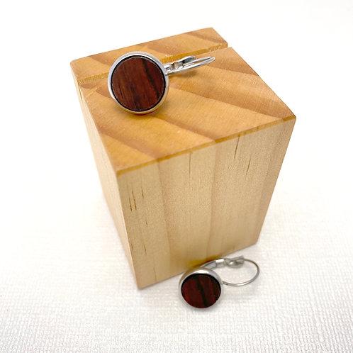 Camtillo Wood Disc Lever Back Earrings