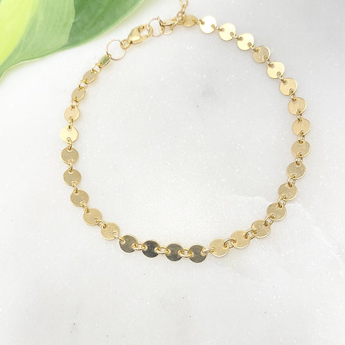 Gold-filled Disc Chain Bracelet