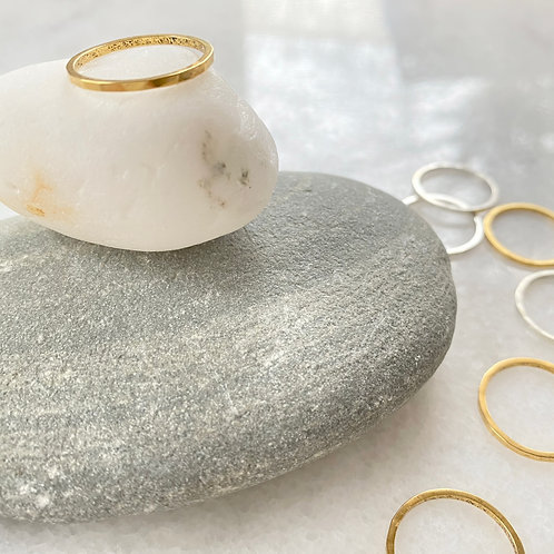 Thin Gold Hammered Stacking Ring