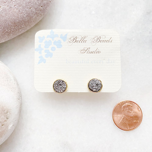 Sparkly Grey Druzy Stud Earrings