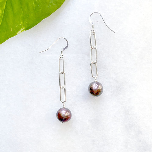 Tahitian Black Pearl and Paperclip Chain Earrings