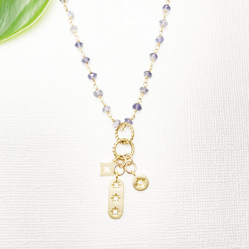 Lolite Rosary Chain with Shiny Charms Necklace