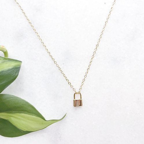 Gold Filled Padlock Charm Necklace